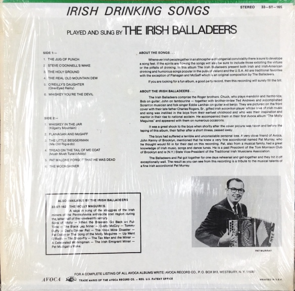 IrishBalladeers_IrishDrinkingSongsBack