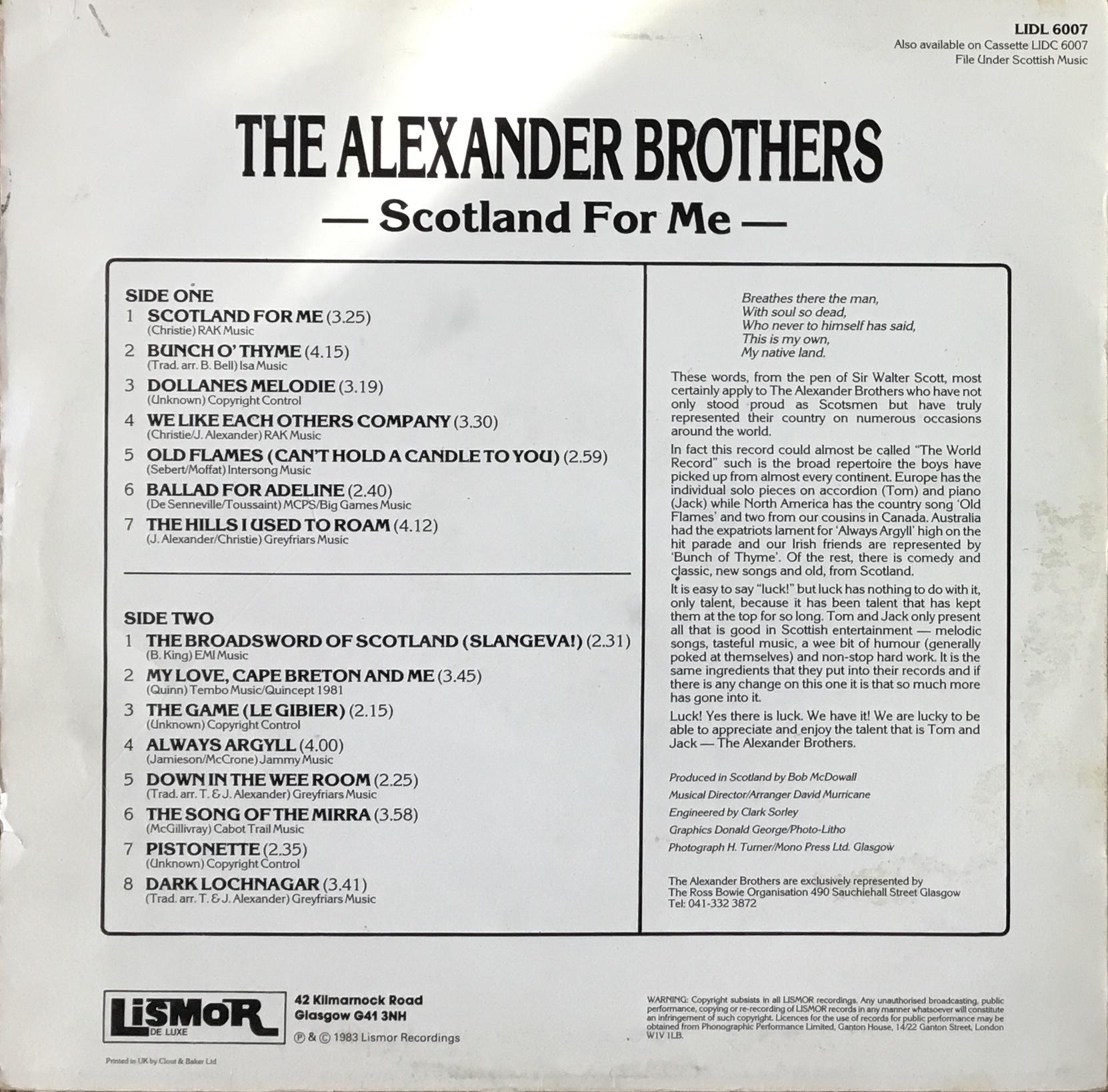 AlexanderBros_ScotlandForMeBack